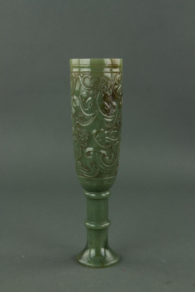 Fine Rare Chinese Imperial Green Jade Wine Vessel