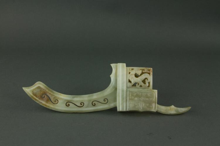 Chinese Fine Rare White Jade Carved Dragon Weapon