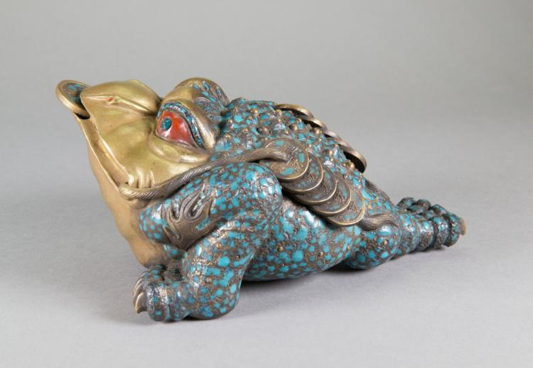 Chinese Bronze Lucky Toad Qianlong Mark