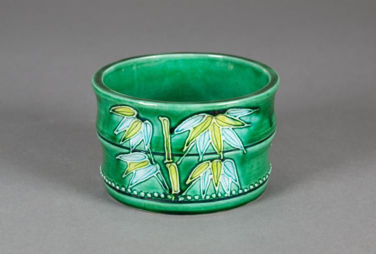 Chinese Green Ground Bamboo Porcelain Water Pot