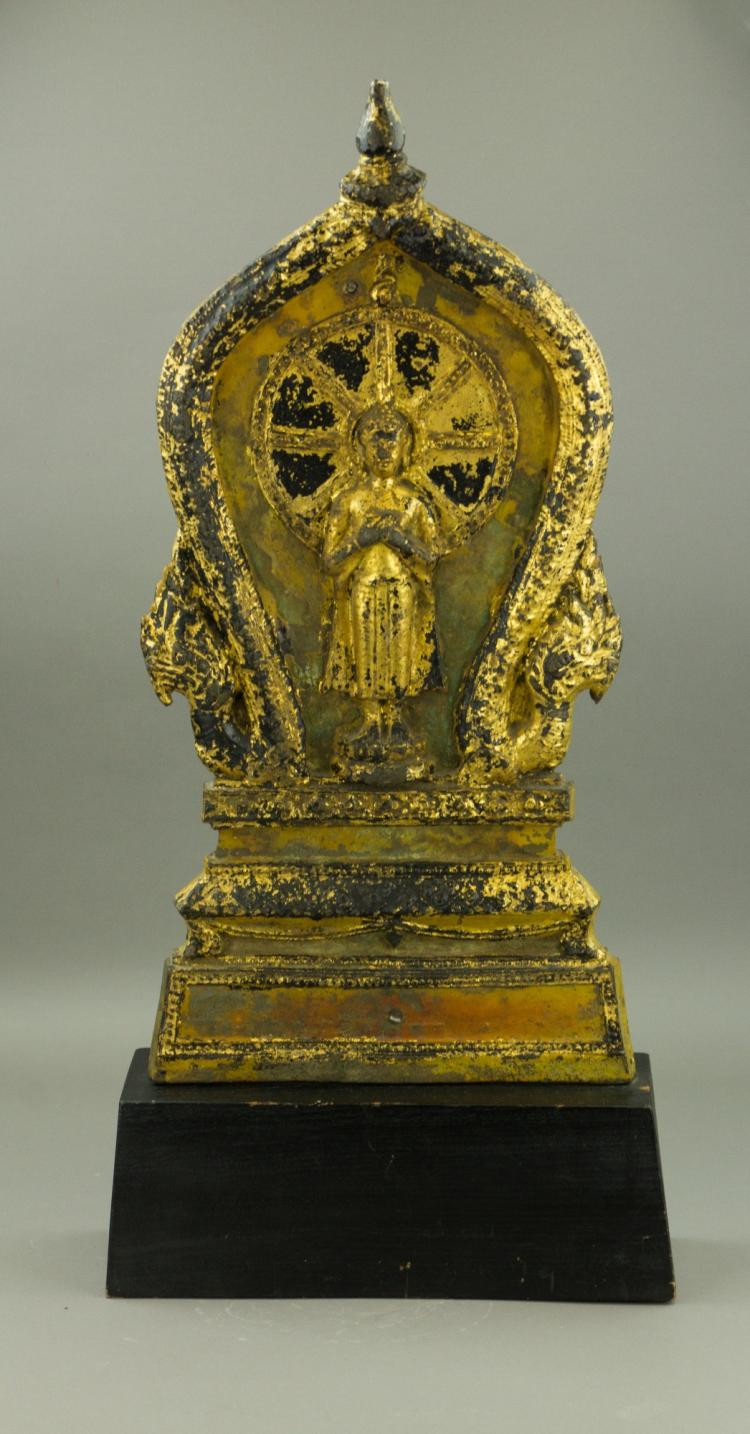 Burmese/Chinese Large Gilt Buddha Metal Plaque