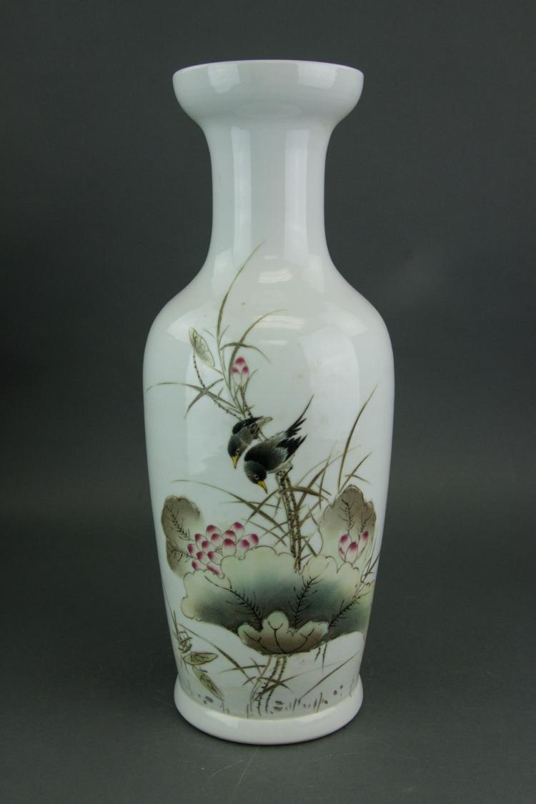 Chinese Famille Rose Vase Signed Zhu Shan Ba You