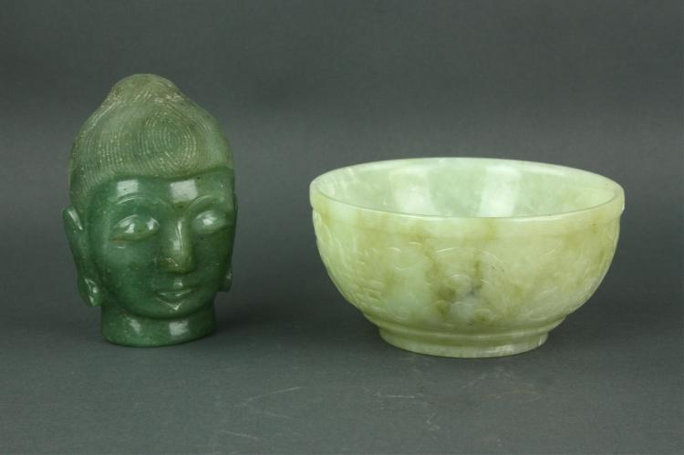 Chinese Green Jade Stone Carved Bowl & Buddha Head