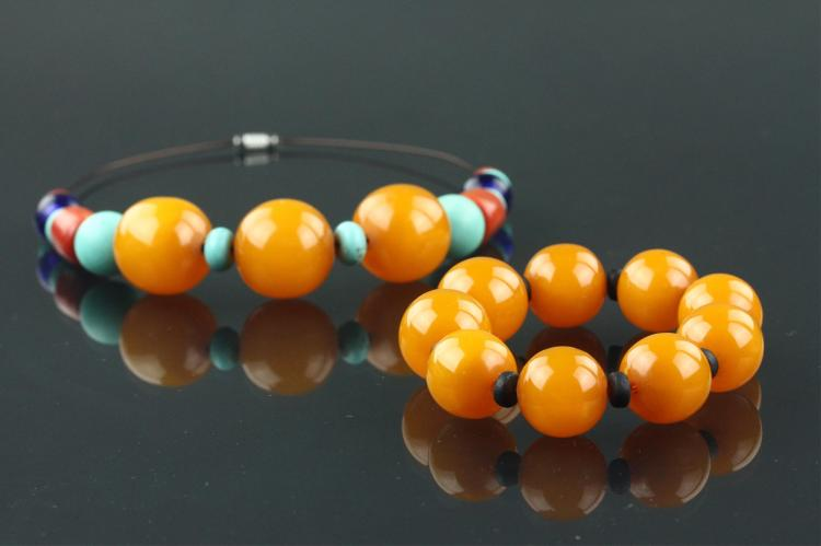 Pair of Coral with Amber-like Necklace & Bracelet