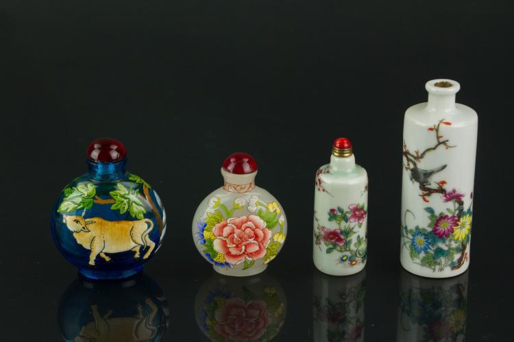 4 Pc Chinese Snuff Bottles Gu Yue Xuan Mark