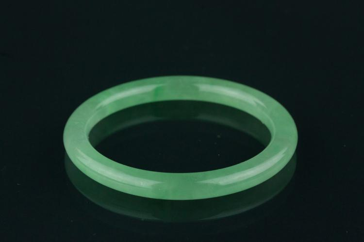 Chinese Icy Green Jadeite Carved Bangle