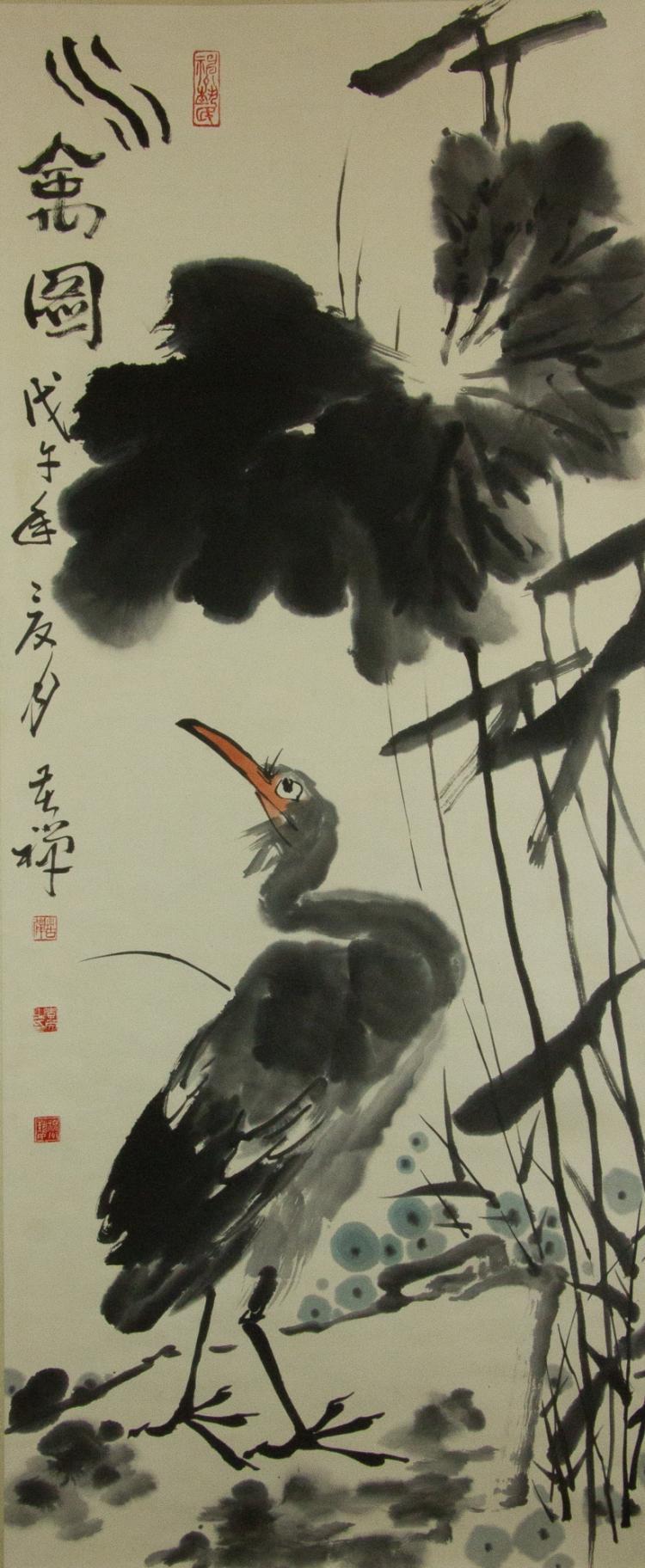 Li Kuchan 1899-1983 Watercolour on Paper Scroll