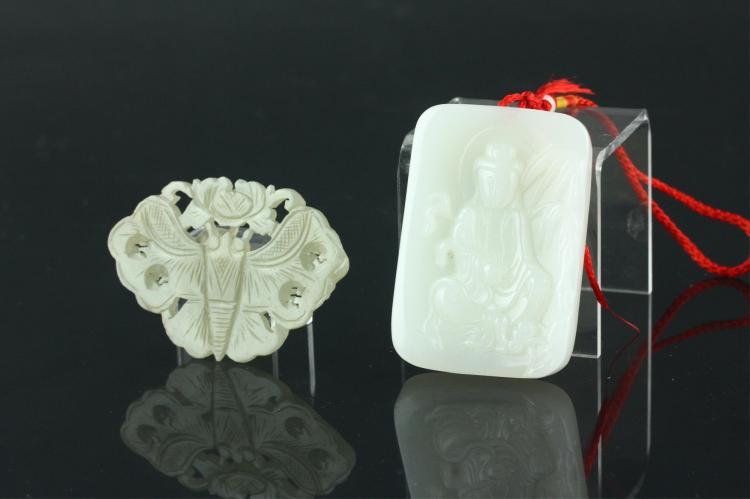 2 Pc Chinese Jade and Hardstone Pendants