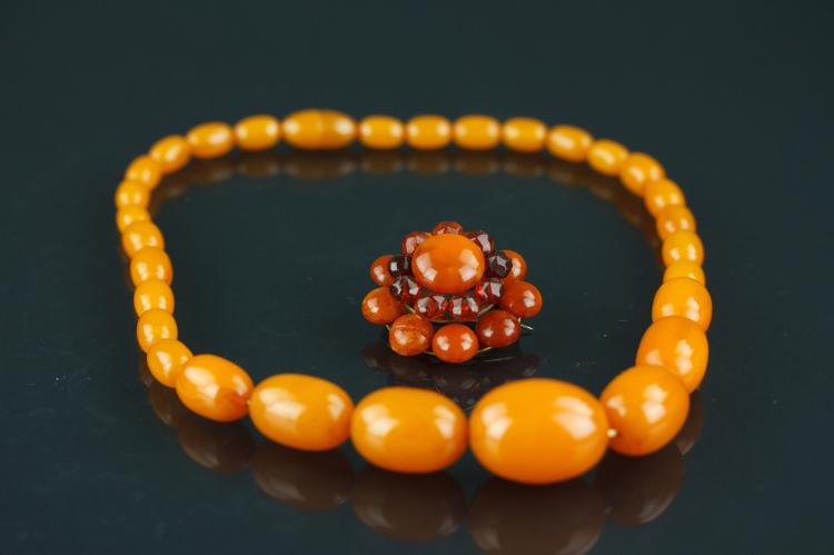 Chinese Amber Necklace and Brooch