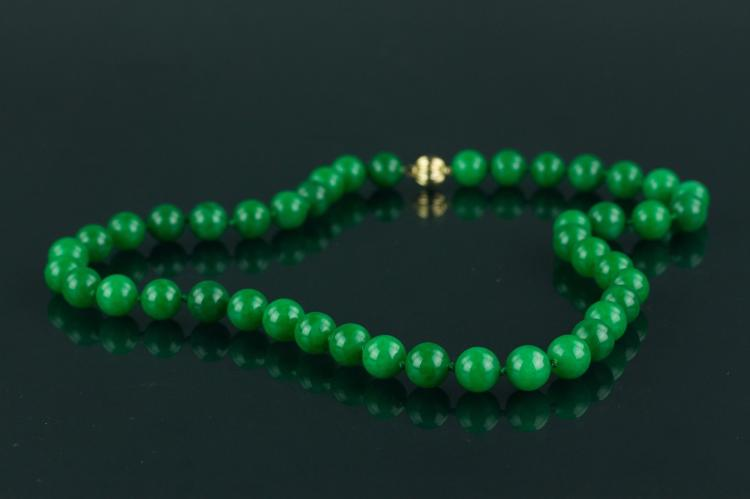 Chinese Green Jade Necklace with 14K Clasp