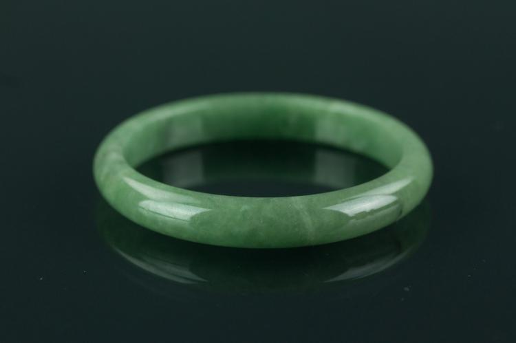 Chinese Green Jade Carved Bangle