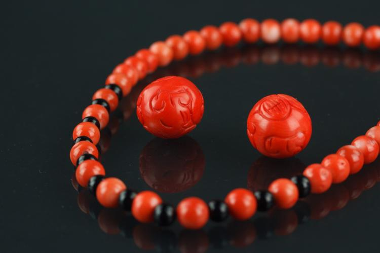 Chinese Red Coral Necklace and 2 Large Beads