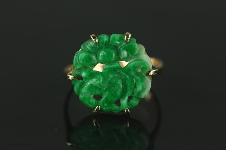 Chinese Green Jadeite Ring with 14K Mark