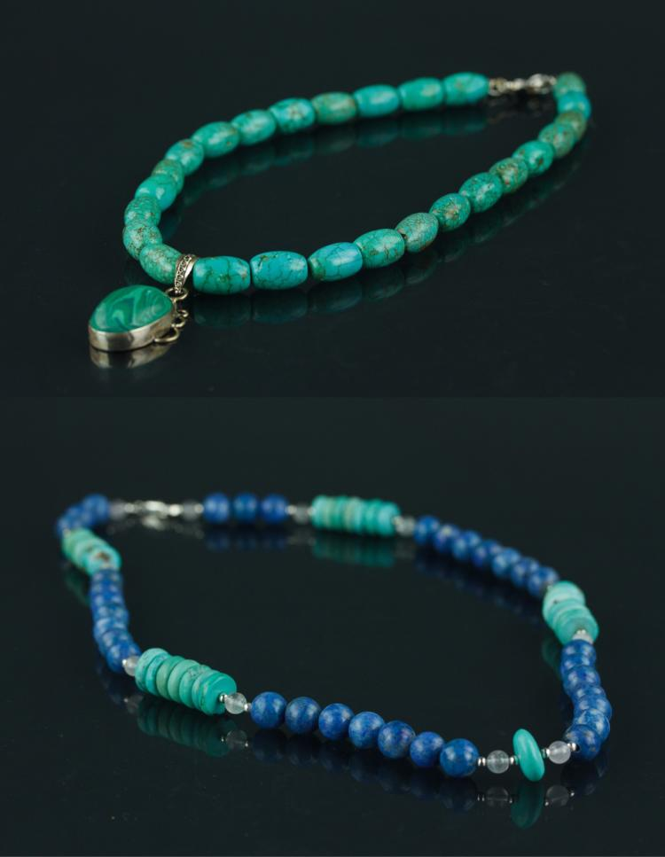 2 Pc Old Lapis & Turquoise Necklaces