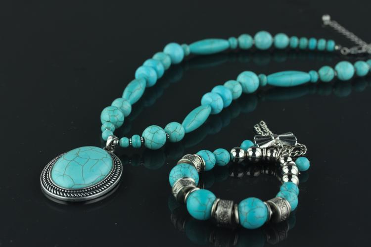 Chinese Turquoise Necklace & Bracelet