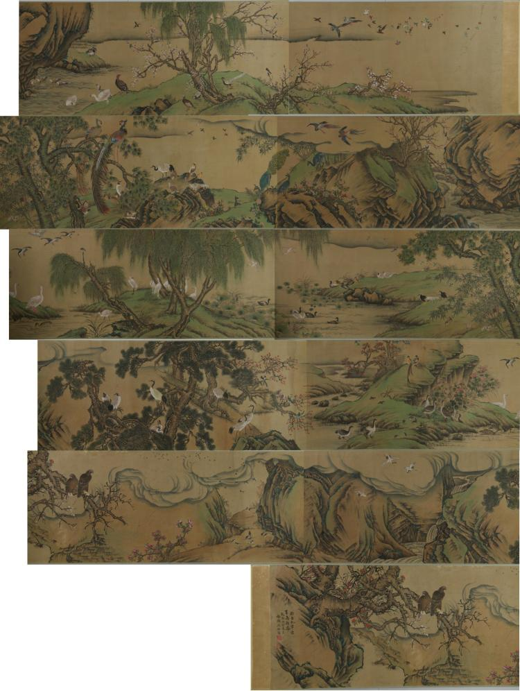 Chinese Long 100 Birds Silk Shen Quan 1682–1760
