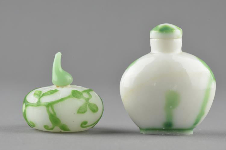 2 Pcs Chinese Peking Glass Green Leaf Snuff Bottle