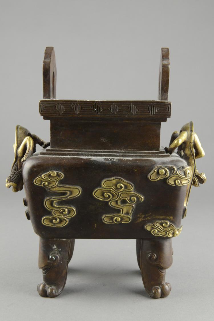 Chinese Gilt Bronze Square Censer Qianlong Mark