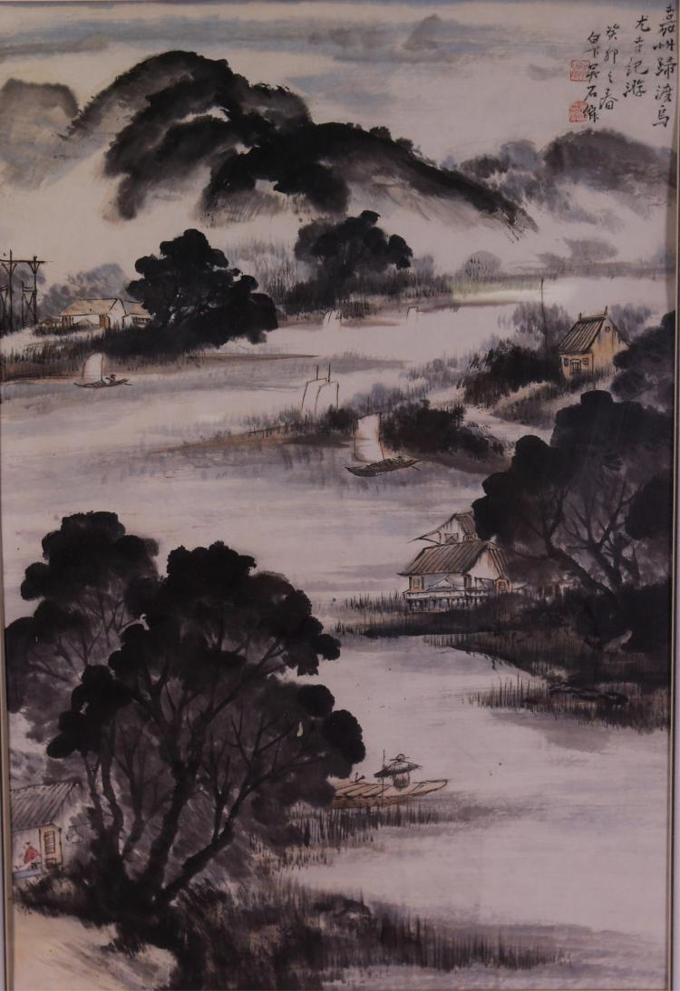 Chinese WC Landscape Painting Framed Wu Shijuan