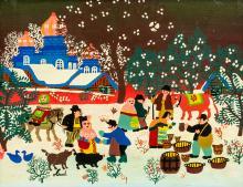 Maud Lewis Canadian Folk Oil on Canvas