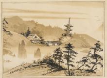 Caroline BURNETT Ink on Paper Landscape