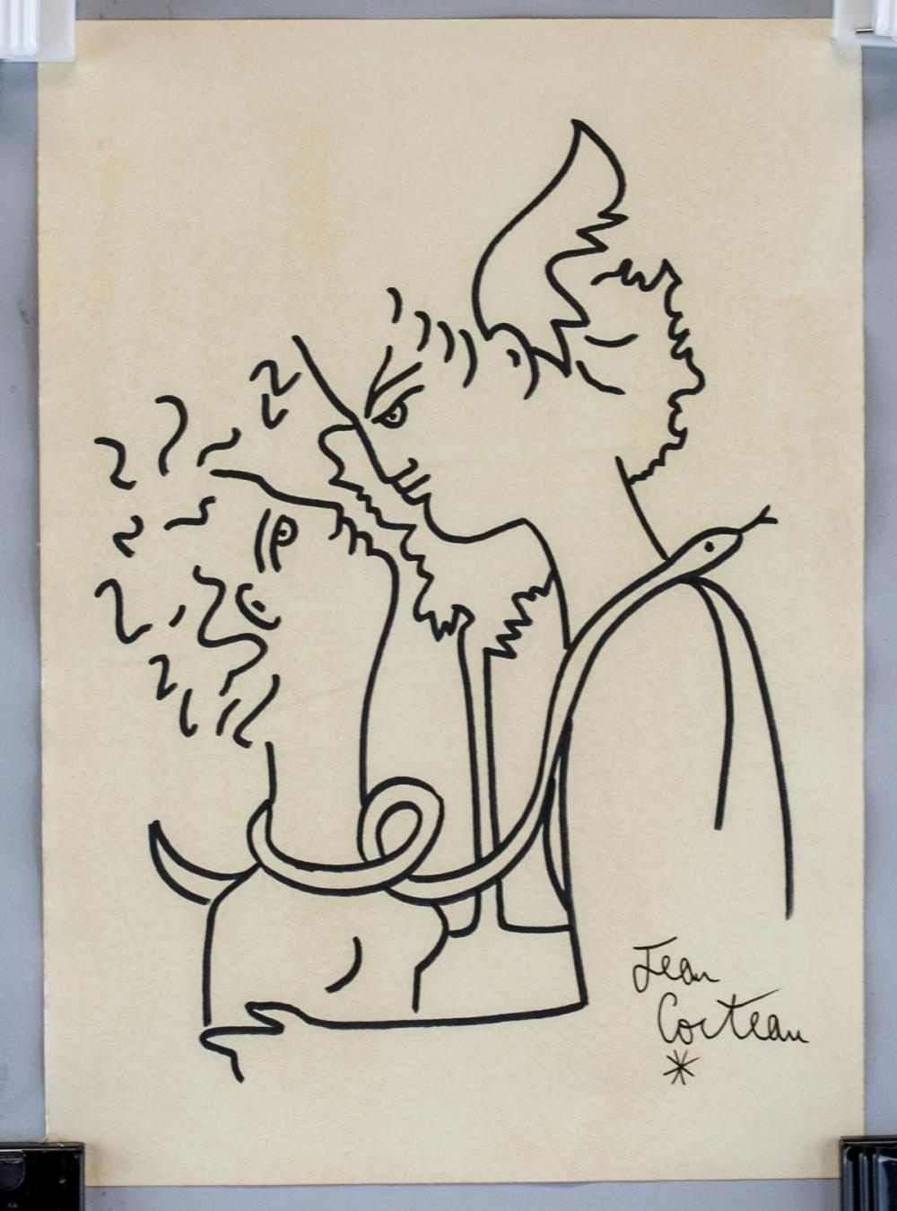 Lot 10: Jean Cocteau French Surrealist Marker on Paper