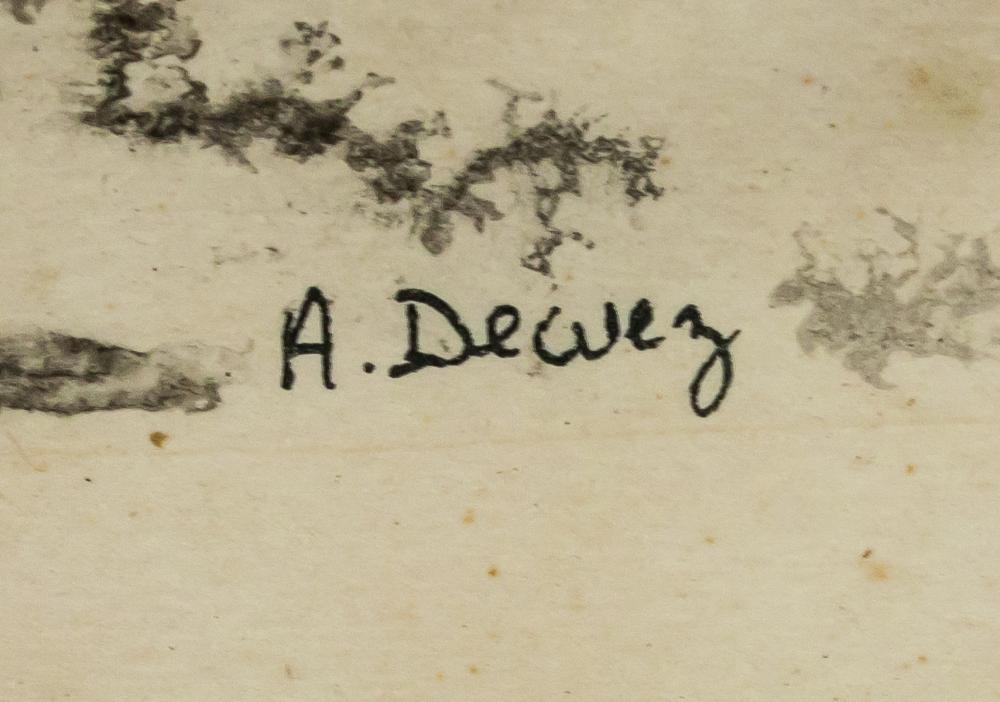 Lot 16: A. Dewez Mixed Media on Paper Inscribed 1970