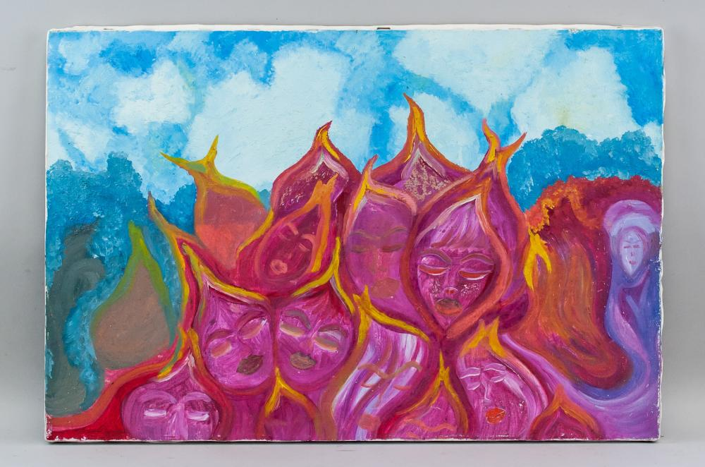 Lot 30: Oil on Canvas Abstract Composition Unsigned