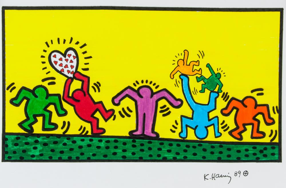 Keith Haring American Pop Mixed Media on Paper