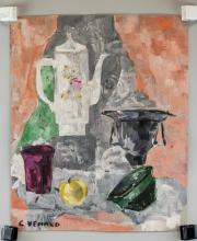 Lot 45: Claude Venard French Post-Cubist Oil on Paper