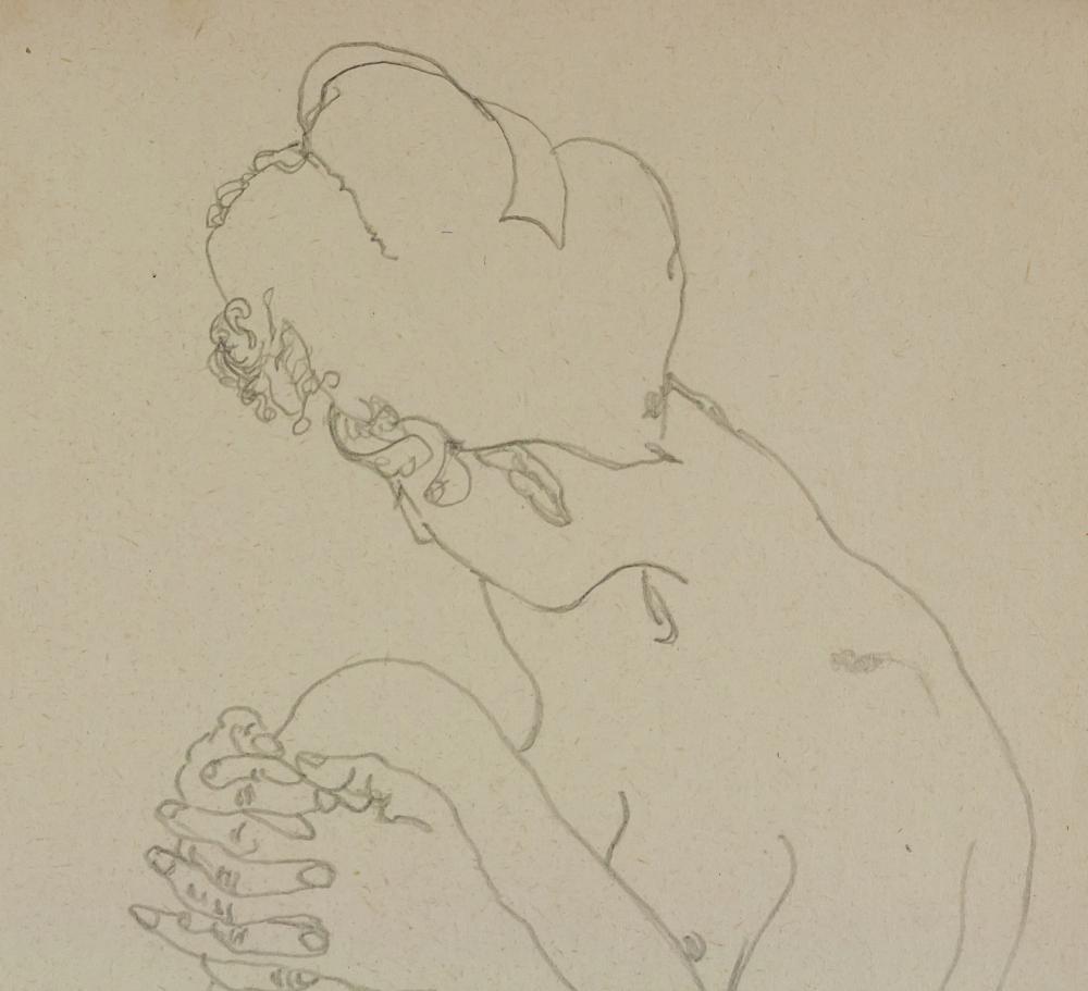 Lot 44: Egon Schiele Austrian Expressionist Ink Paper 1914
