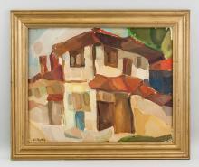 Lot 42: Adolf Hoelzel German Modernist Oil on Board