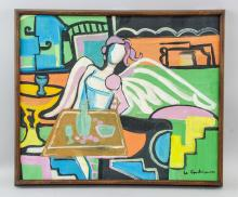 Lot 43: Le Courbusier French-Swiss Modernist Oil on Canvas