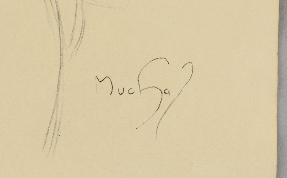 Lot 46: Alphonse Mucha Czech Art Nouveau Pencil on Paper