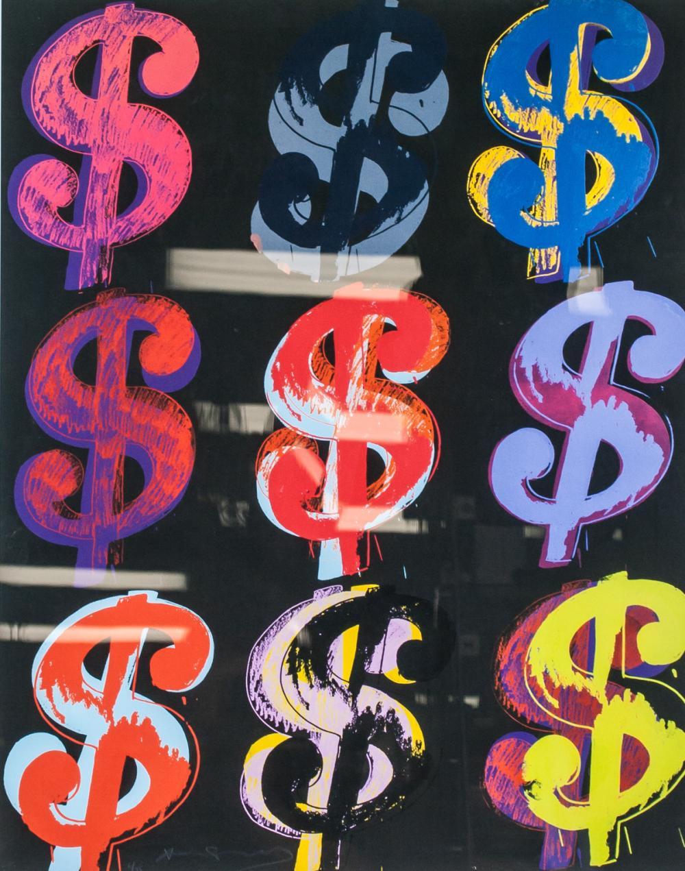 Lot 51: Andy Warhol US Pop Signed Litho $9 on Black 6/25