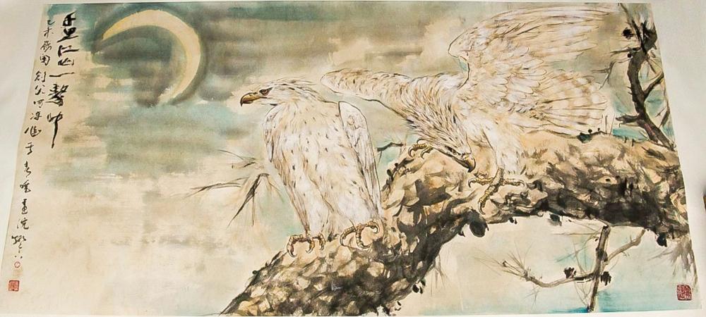 Gao Jianfu 1879-1951 Chinese Watercolor Eagles