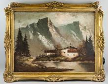 Lot 62: Signed Scholz German Oil on Canvas Landscape