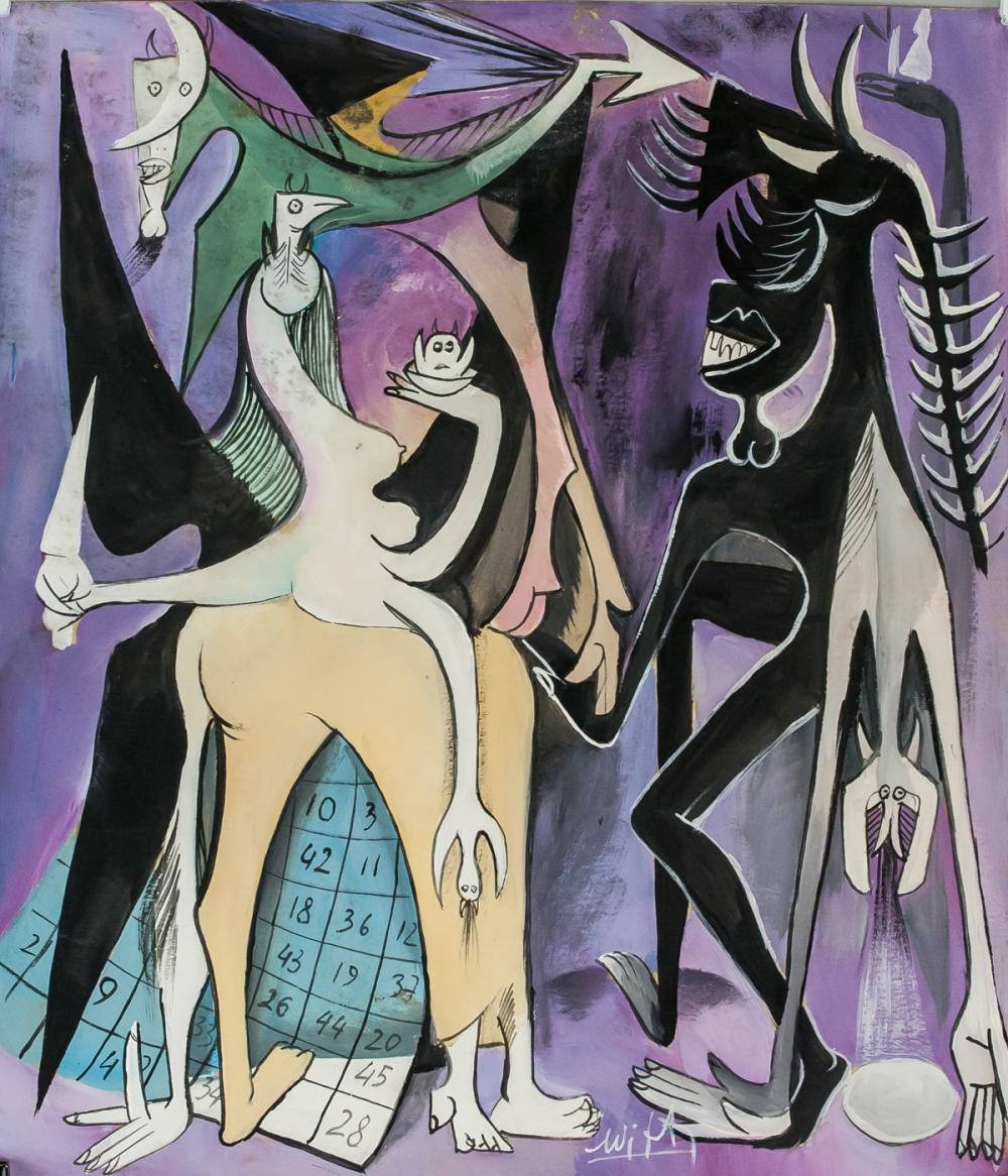 Wifredo Lam Cuban Surrealist Gouache on Paper