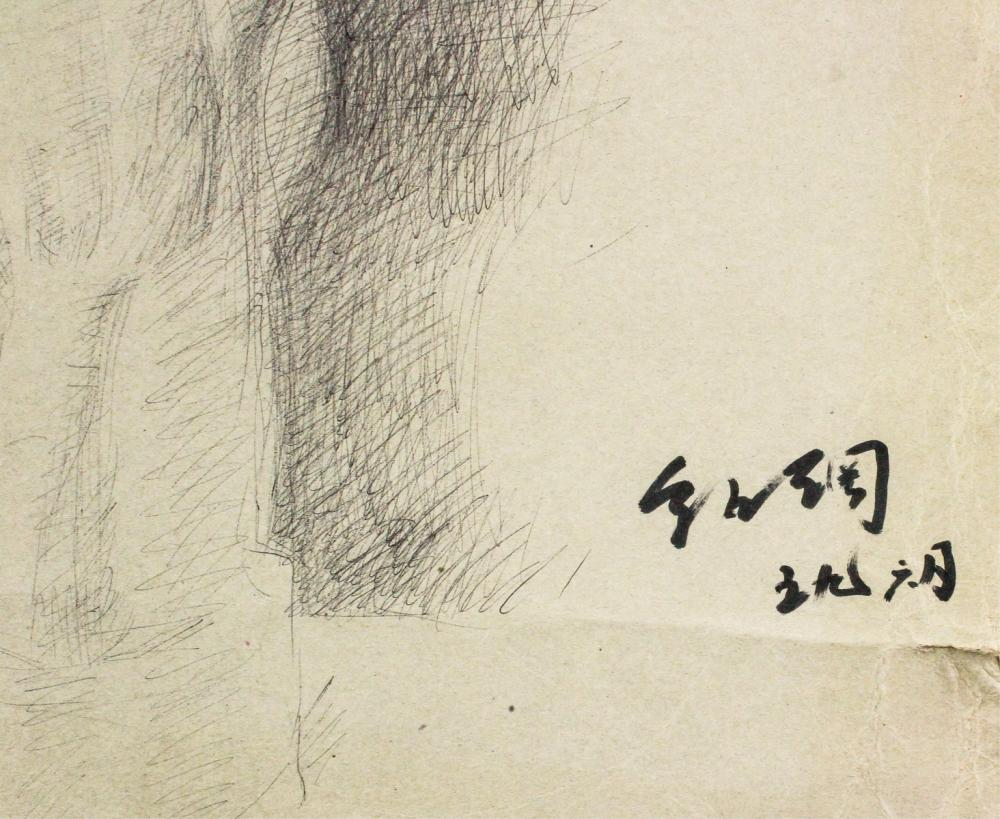 Lot 74: Guo Shaogang b.1932 Chinese Pencil Dated 1959