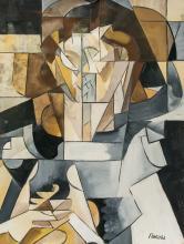 Lot 80: Lyubov Popova Russian Modernist Gouache on Paper