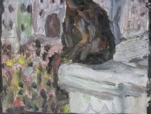Lot 81: Chaim Soutine Expressionist Mixed Media on Board