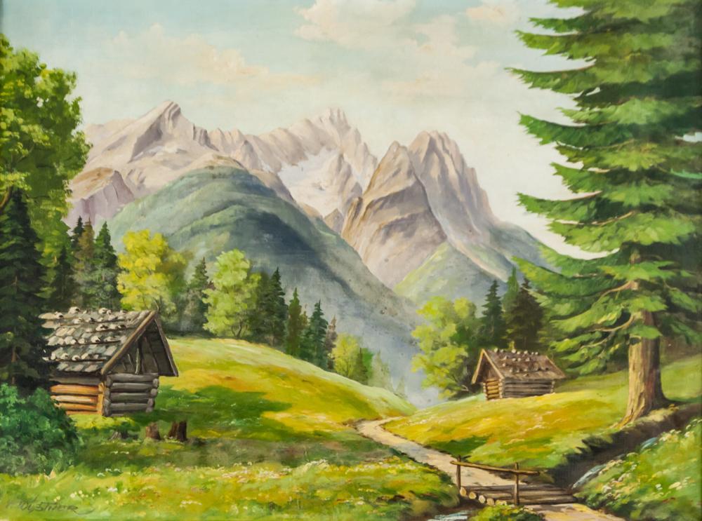 Max Wustner Bavarian Oil on Canvas Landscape