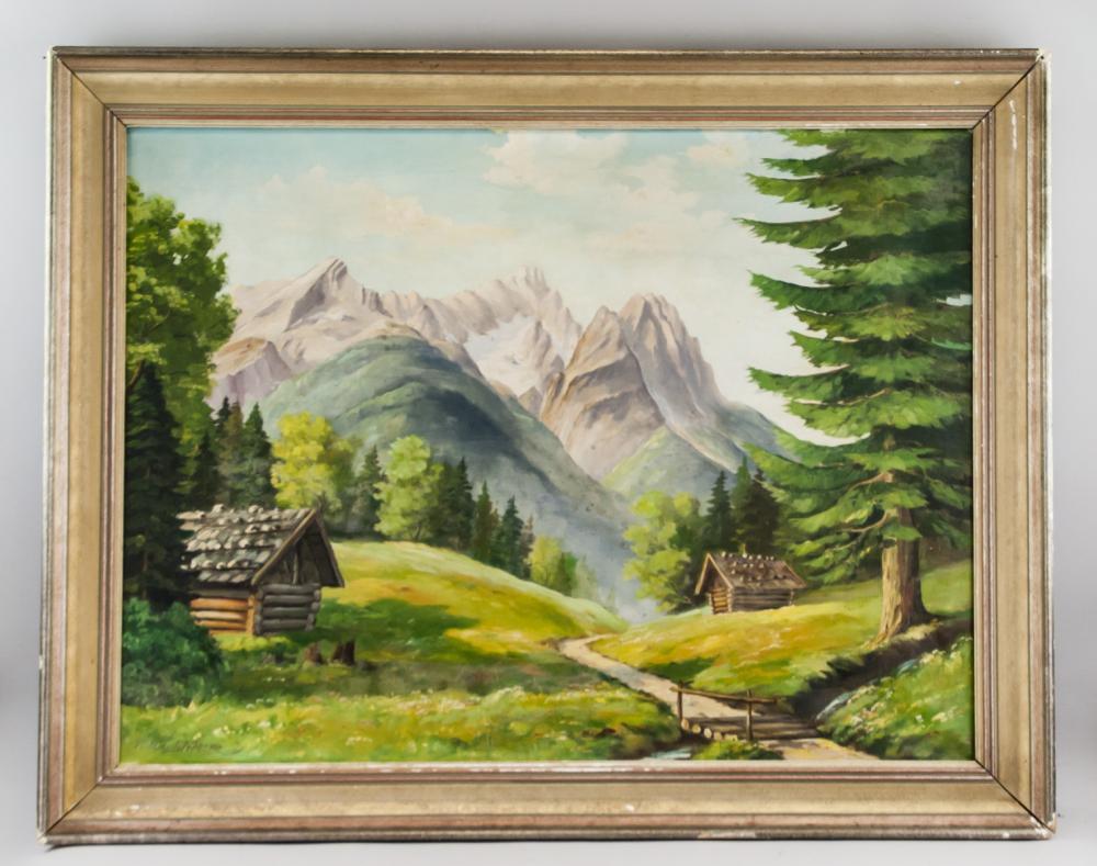 Lot 96: Max Wustner Bavarian Oil on Canvas Landscape