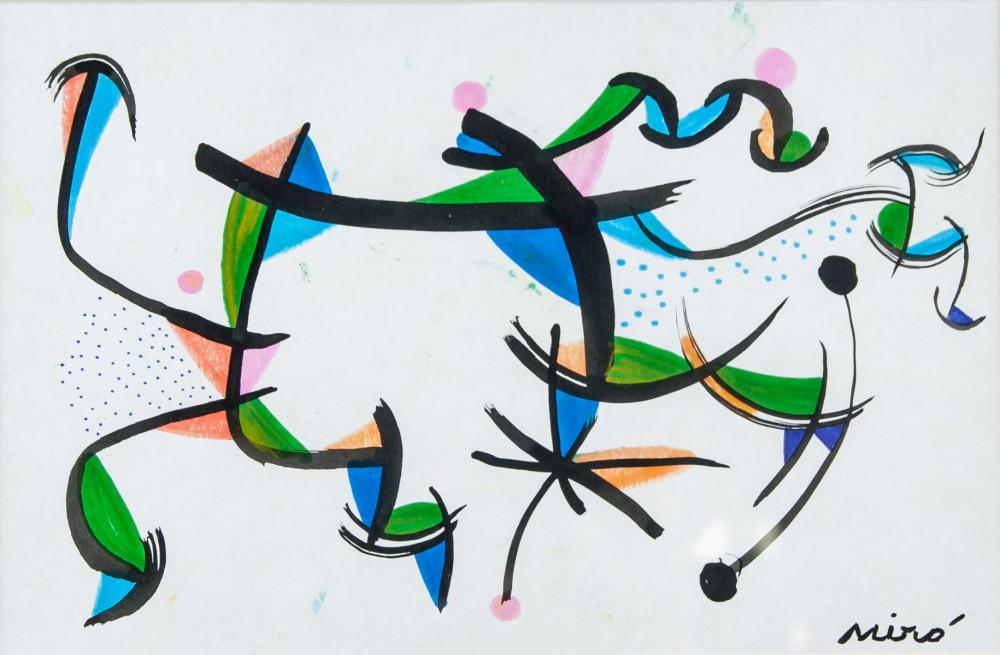 Lot 104: Joan Miro Spanish Surrealist Mixed Media on Paper