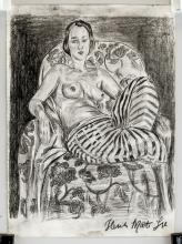 Lot 120: French Fauvist School Charcoal Signed Illegibly