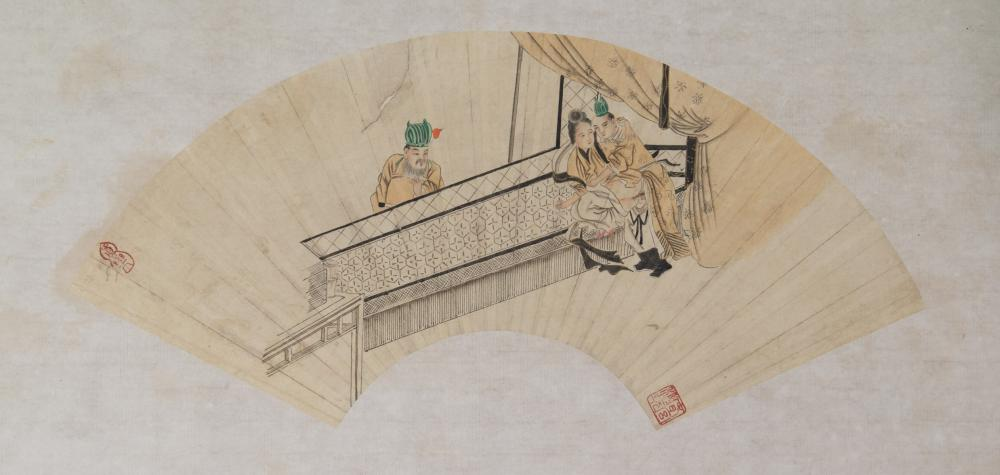 Lot 121: Chinese Watercolor Erotic Scene on Fan Paper Roll