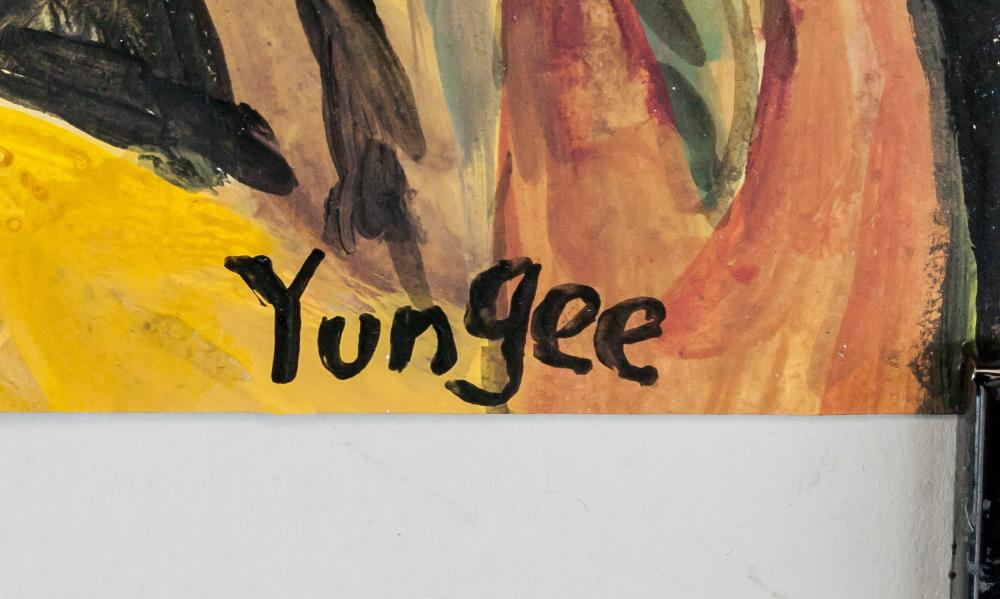 Lot 122: Yun Gee American Chinese Modernist Oil Tempera