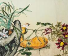 Lot 129: Chinese Watercolor Bird and Orchid on Paper Roll