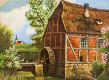 Lot 128: Oil on Canvas Watermill House Landscape Dated 39