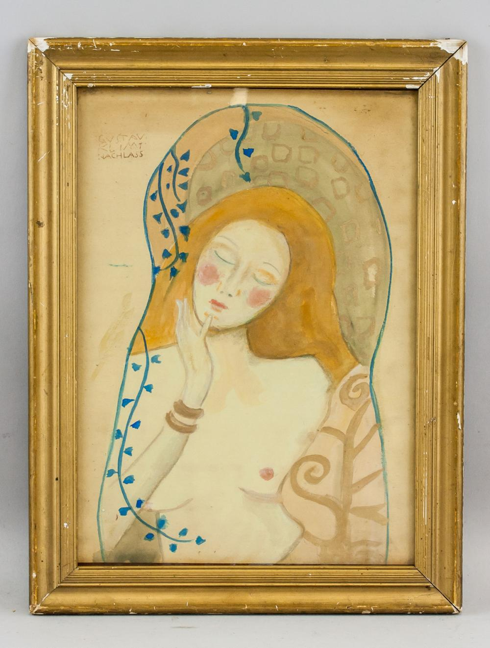 Lot 132: Gustav Klimt Austrian Art Nouveau Mixed Media
